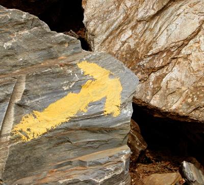 [Arrow on rocks]